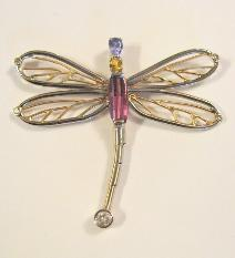 Pendants by kim 14k white and yellow gold dragonfly pendant with tanzanite yellow sapphire fancy cut pink tourmaline and fine diamond flexible tail aloadofball Gallery